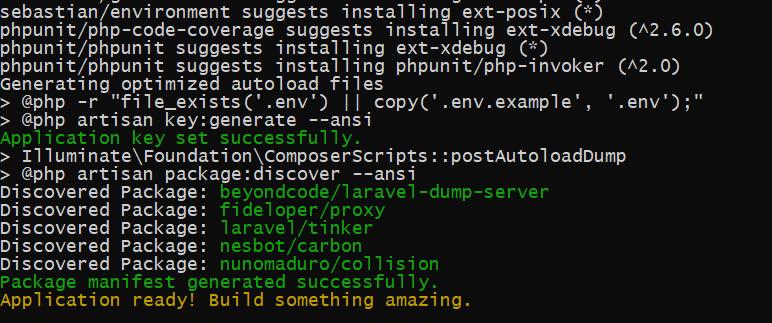 Complete Laravel installation